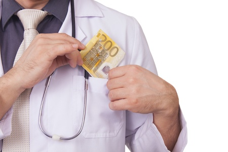 Doctor Receiving Money Bribing  200 Euro Banknote photo