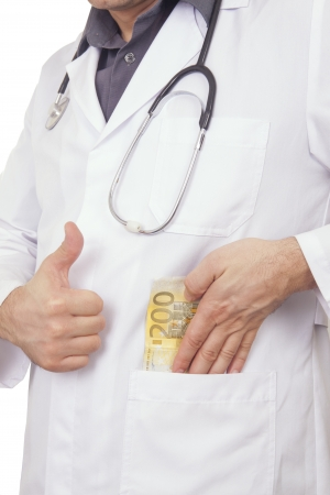 doctor putting money: Doctor Putting Money in his pocket  Bribing  200 Euro Banknote Stock Photo