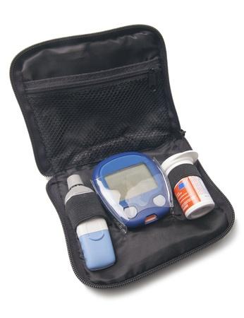 diabetes meter kit: Glucometer Kit Isolated On White Background
