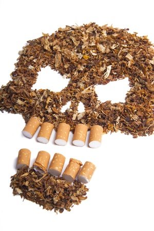 Death sign skull made of Tobacco isolated on white  Smoking metaphor Stock Photo - 17821016
