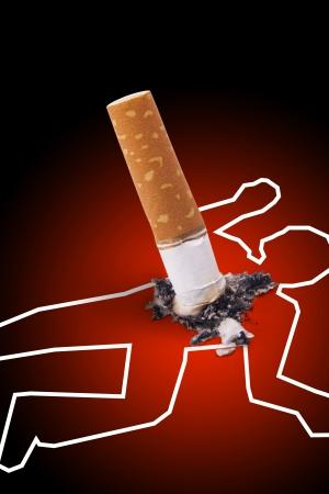 Cigarette crime scene Anti smoking concept