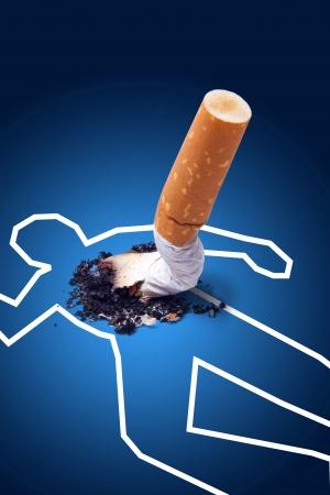 Cigarette crime scene Anti smoking concept photo