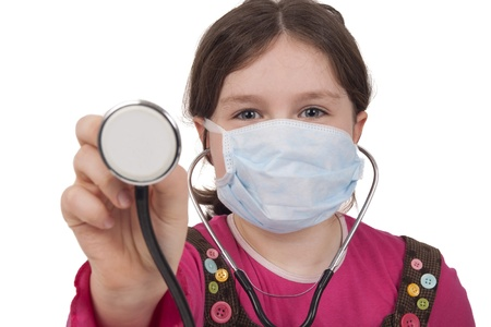 stethoskope: Little girl with stethoscope and surgical mask Isolated on white  Stock Photo
