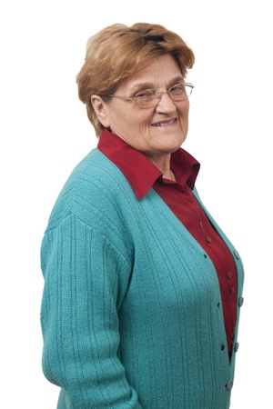 senior women: Smiling senior women with glasses isolated on white