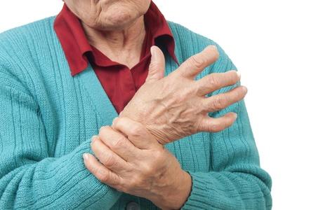 douleur main: Femme avec des douleurs � la main isol� sur fond blanc