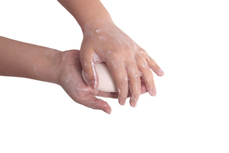 sudsy: Sudsy hands with soap isolated on white