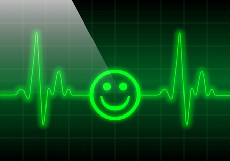 heart monitor: Smiley face on green heart rate monitor expressing excellent heart condition
