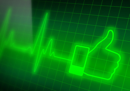 Like sign on green heart rate monitor expressing excellent heart condition Stock Photo