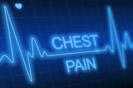 heart monitor: Chest pain - written on blue heart rate monitor expressing warning on heart condition Stock Photo