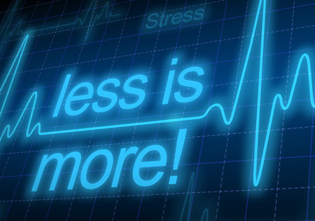 too much: Less is more - written on blue heart rate monitor expressing warning on heart condition, too much stress Stock Photo