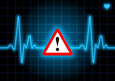 Danger sign on blue heart rate monitor expressing warning on heart condition - health hazard