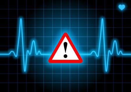 Gefahrenzeichen auf blauem Pulsuhr Ausdruck Warnung auf Herzleiden - Gefahr für die Gesundheit Standard-Bild - 31078076