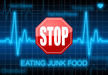 heart monitor: Stop eating junk food - on blue heart rate monitor expressing warning on heart condition, unhealthy diet