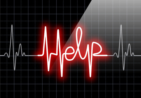heart monitor: HELP written on black heart rate monitor expressing warning on heart condition, health hazard