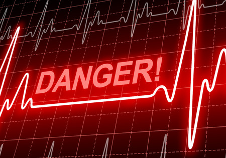 DANGER - written on red heart rate monitor expressing warning on heart condition, health hazard photo