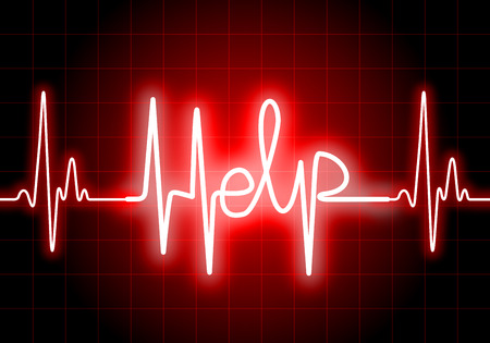 heartattack: HELP written on red heart rate monitor expressing warning on heart condition, health hazard