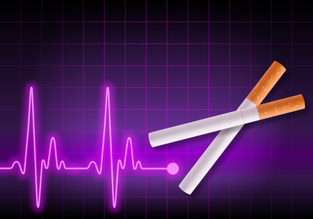 Scissors made of cigarettes on violet heart rate monitor cutting the heartbeat line - Anti Smoking campaign - Health hazard photo