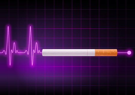 Cigarette on violet heart rate monitor stopping the heartbeat line - Anti Smoking campaign - Health hazard photo