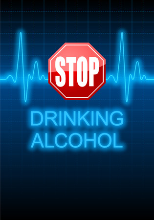 STOP DRINKING ALCOHOL written on vertical poster with blue heart rate monitor expressing warning on heart condition, health hazard photo