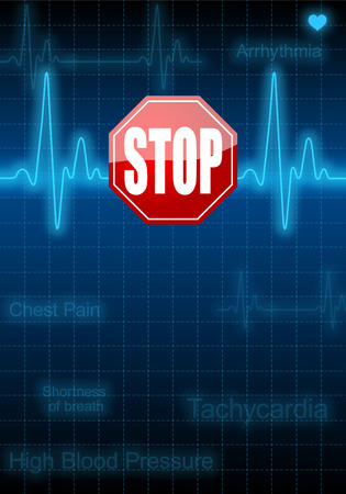 Stop sign on vertical poster with blue heart rate monitor expressing warning on heart condition, health hazard photo