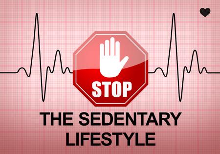 sedentario: PARAR EL SEDENTARISMO escrito en papel de impresi�n ECG expresa advertencia en condici�n cardiaca, riesgo para la salud