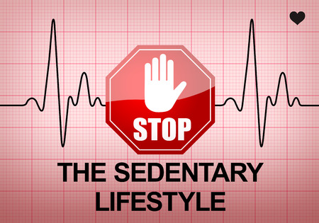 sedentary: STOP THE SEDENTARY LIFESTYLE written on ECG recording paper expressing warning on heart condition, health hazard