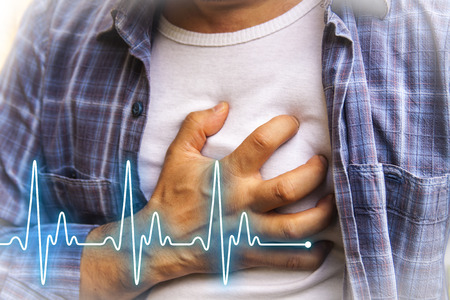 sudden: Men in blue shirt having chest pain - heart attack - heartbeat line