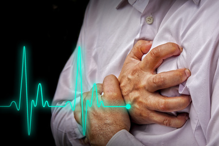illness: Men in white shirt having chest pain - heart attack - heartbeat line