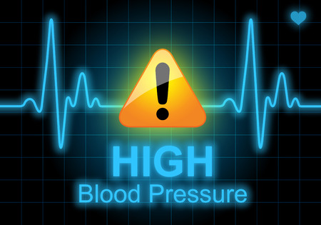 高血圧は、心の状態、健康被害の警告を表現する心拍数のモニターに書かれて 写真素材
