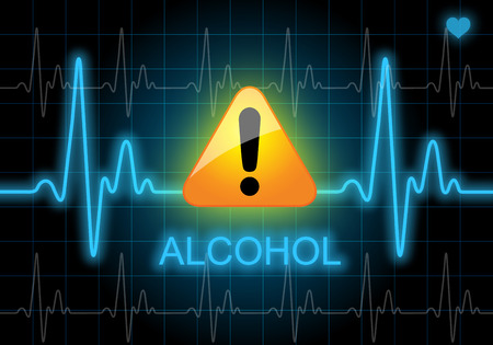 too much: ALCOHOL - written on heart rate monitor expressing warning on heart condition - Health hazard of too much alcohol