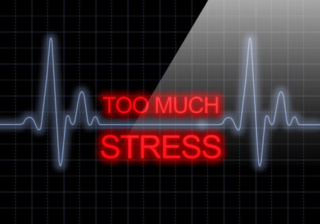 heart monitor: TOO MUCH STRESS written on black heart rate monitor expressing warning on heart condition, health hazard