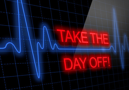 the day off: TAKE THE DAY OFF written on black heart rate monitor expressing warning on heart condition, health hazard Stock Photo