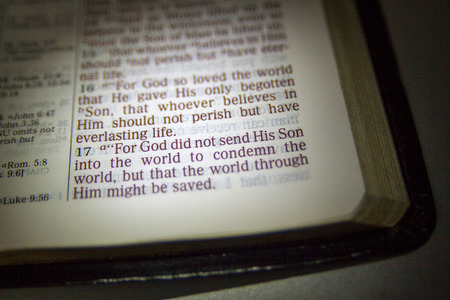 Open Bible and Bible Verse. John 3.16 Stock fotó