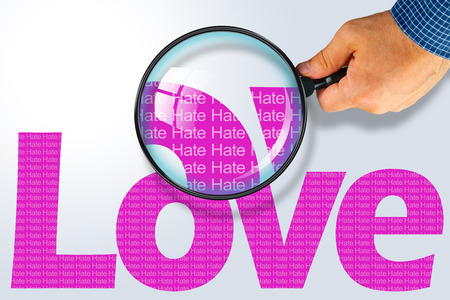reading glass: Human hand holding magnifying glass reading the word LOVE hiding the opposite message HATE. Purple word on a white background. Antonym, hidden reality concept, Hidden message