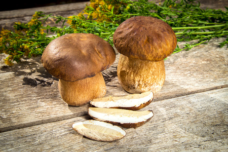 cepe: Fresh Boletus Edilus mushrooms on a wooden table - whole and sliced, mountain tea Perforate St Johns-wort Stock Photo