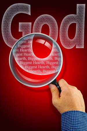 synonym: The name GOD observed with magnifying glass shows He is The Biggest Heart