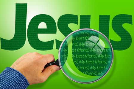 best friend: The name JESUS observed with magnifying glass shows He is My best Friend. Religious concept image