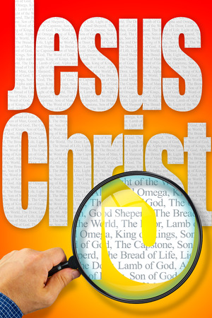synonym: The name JESUS CHRIST observed with magnifying glass shows the synonyms: Messiah, Bread of life, Lamb of God; Light of the World; King of Kings, The Capstone, The Door, Alpha and Omega, Prince of Peace