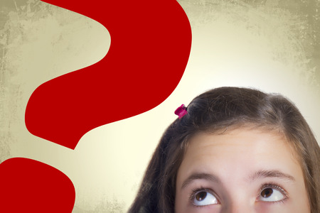 bulging eyes: Teenage girl with bulging eyes looking to big red question mark expressing dilemma and hesitation. Grunge background. Stock Photo