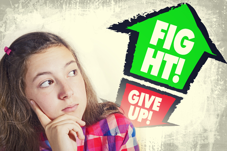 give up: Portrait of beautiful teenage girl facing great dilemma to GIVE UP or to FIGHT! Facial expression. Grunge background. Pointing arrows