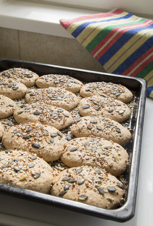 preparing dough: Homemade whole grain bread. Preparing dough