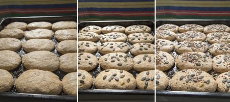 preparing dough: Homemade whole grain bread. Preparing dough. Three phases Stock Photo