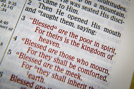inherit: Bible text from Matthew 5. about Blessings. �Blessed are the poor in spirit,     For theirs is the kingdom of heaven. 4 Blessed are those who mourn,     For they shall be comforted. 5 Blessed are the meek,     For they shall inherit the earth.