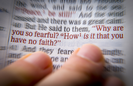 emphasize: Why are you so fearful? How is it that you have no faith? Bible text from John 9:35, the Bible. Visual effects to emphasize the message. Macro Stock Photo