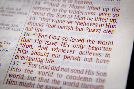 For God so loved the world that He gave His only begotten Son, that whoever believes in Him should not perish but have everlasting life. Bible text from John 3:16, the Bible. Visual effects to emphasize the message. Macro