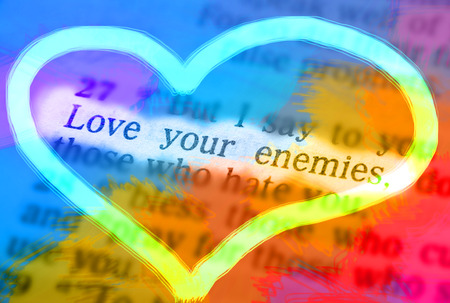 emphasize: But I say to you who hear: Love your enemies, do good to those who hate you Bible text from Luke 6:27, the Bible. Visual effects to emphasize the message. Macro