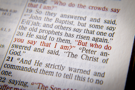 "he said: He said to them, ""But who do you say that I am?""  Bible text from John 9:35, the Bible. Visual effects to emphasize the message. Macro"