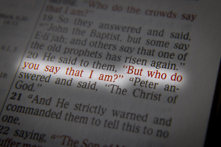 """he said: He said to them, """"But who do you say that I am?""""  Bible text from John 9:35, the Bible. Visual effects to emphasize the message. Macro"""
