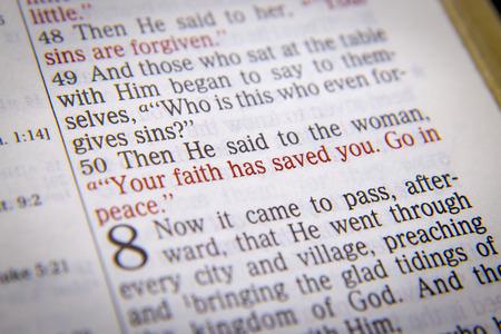 vangelo aperto: Allora egli disse alla donna, la tua fede ti ha salvata. Vai in pace. testo biblico da Luca 07:50, la Bibbia. Gli effetti visivi per sottolineare il messaggio. macro