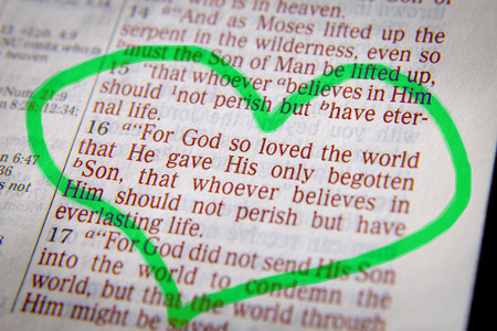 For God so loved the world that He gave His only begotten Son, that whoever believes in Him should not perish but have everlasting life.Bible text from John 3:16, the Bible. Visual effects to emphasize the message. Macro